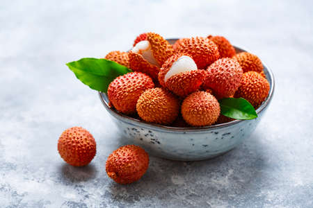 Fresh red lychee fruits