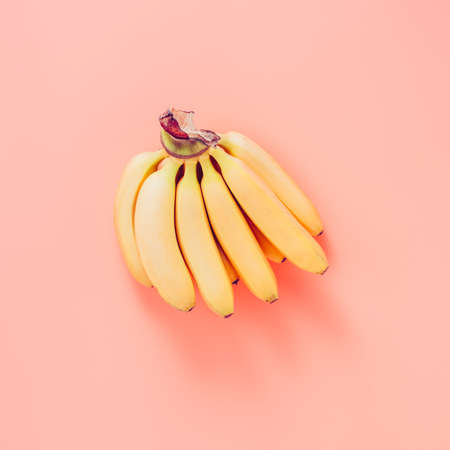 Little bananas on the pink background.