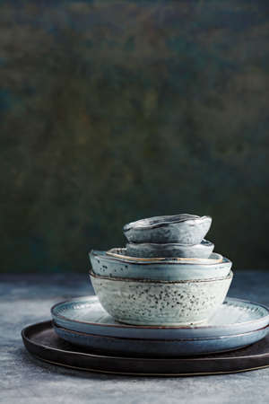 Tableware set on a green background