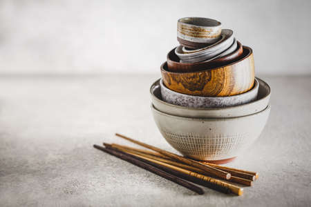 Ceramic and wooden bowls.