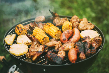 Barbecue meats and vegetables