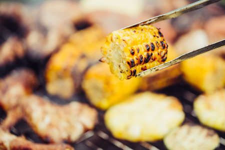 Grilled corn close-up.