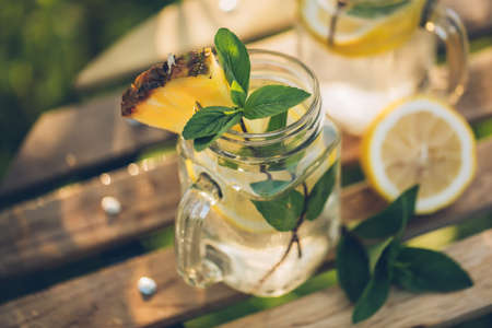 Refreshing chilled lemon water 写真素材