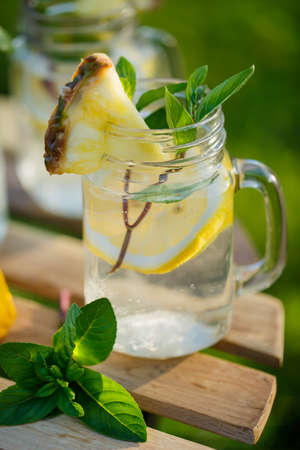 Refreshing chilled lemon water Stock Photo