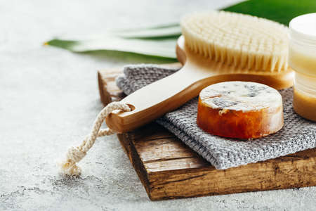 Natural aroma soap and brush for body. Spa. Selective focus.