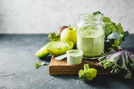 Blend of vegetable Superfoods for making smoothies. Reklamní fotografie