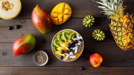 Peach smoothie bowl with kiwi fruit Stok Fotoğraf