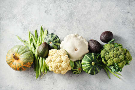 Broccoli, cauliflower, green beans, squash, and other fresh on a grey background. Reklamní fotografie