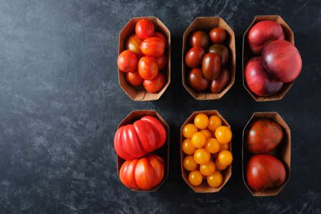 Organic Different Tomatoes on a dark background with copy space, Clean eating. Top view. Reklamní fotografie - 130028904