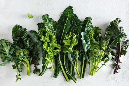 Fresh picked greens from the garden, collards, kale, broccoli. Stock fotó