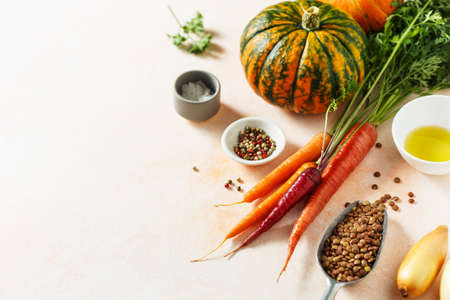 Fresh organic seasonal vegetables, carrots and pumpkin, onion, ingredients for cooking. Food background with copy space.