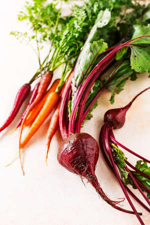 Fresh vegetables, carrots and beets. Without Genetically modified food. Healthy food. Stock fotó