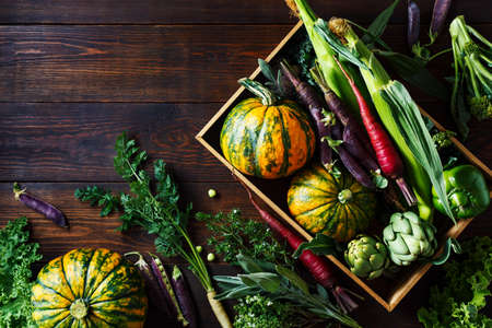 Fresh organic seasonal vegetables, ingredients for cooking. Food background with copy space. Top view Stock fotó