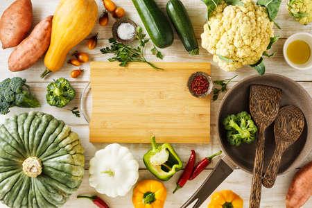 Various seasonal vegetables for cooking healthy vegetarian food.
