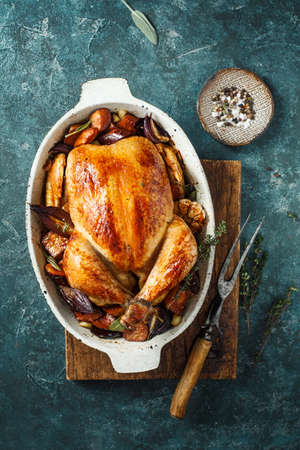 Baked chicken with seasonal vegetables