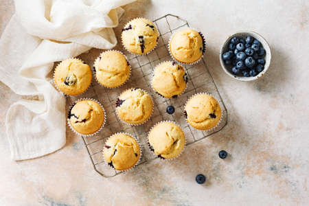 Homemade vanilla muffins with fresh berries. Top view.