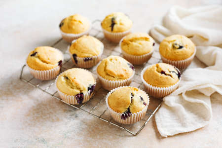 Homemade muffins with blueberries. Top view. Selective focus