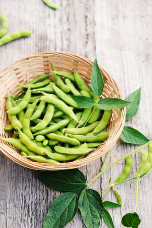 Fresh harvested edamame pods in a bowl on a wooden table