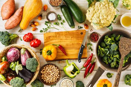 Fresh vegetables for cooking healthy vegetarian food. Top view. Copy space. Stock fotó - 156155994