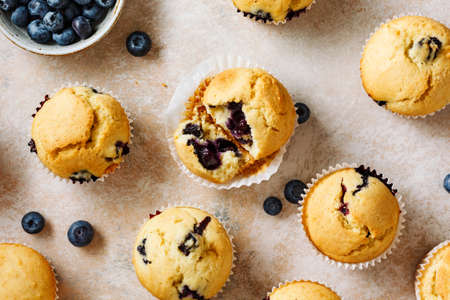 Muffins with blueberries and fresh berries. Top view. Stock fotó - 156155997