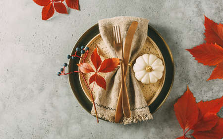 Thanksgiving table setting with autumn leaves, Holidays background concept. Top view. Stock fotó - 156156013