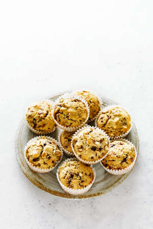 Freshly baked homemade muffins with hazelnut and with chocolate. Copy space. Stock fotó - 156353428