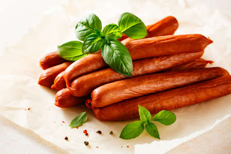Smoked homemade sausages with spices and aromatic herbs.