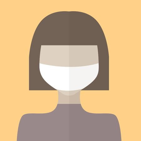 Flat illustration of a girl in a medical mask, coronavirus 2020, vector eps 10 向量圖像