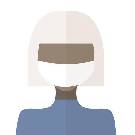 Flat illustration of a girl blonde in a medical mask, coronavirus 2020, vector eps 10
