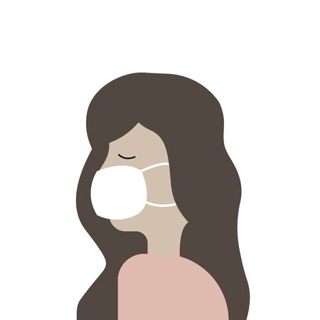 Vector illustration of a flat girl in a medical mask, protection against coronavirus 矢量图像