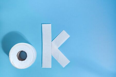 Ok sign by toilet paper roll on a blue background. Don't worry, be happy, stay home. Imagens