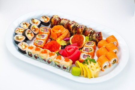 epicurean: Sushi plate on white background