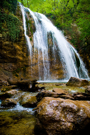 backwater: Jur-Jur the most full-flowing waterfall of Crimea, located on the territory of Alushta region