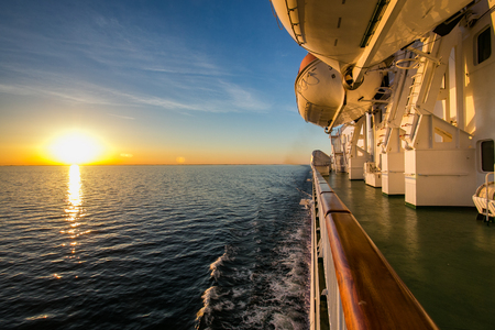 ferry to Sweden via the Poti on the island of Gotland in the Baltic sea. Sunset.