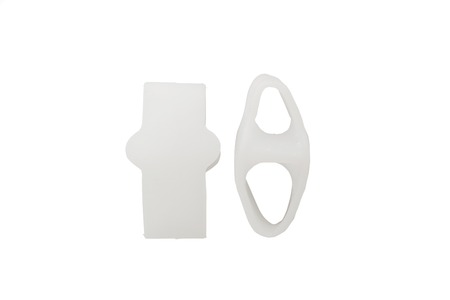The orthopedic device is intended for the removal of the first finger. The product for the implementation of treatment-and-prophylactic correction with the effect of crisscross fingers. The interdigital insert is made of gel, easy and convenient to use.