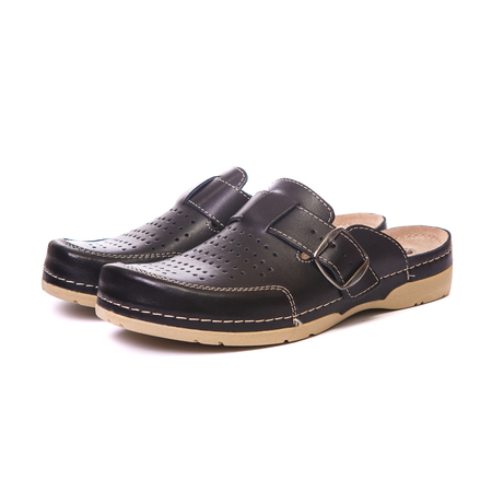 Orthopedic male shoes on white isolated background
