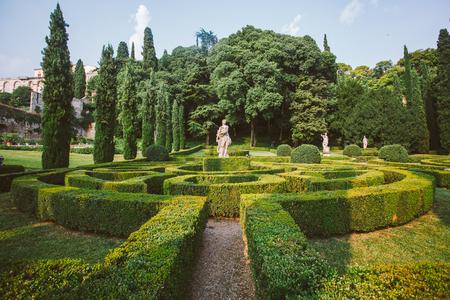 Giusti garden in Verona, Italy. Architecture and landmark of Verona. Postcard of Verona.