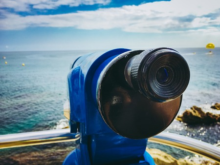 spyglass telescope with a view of the sea in Catalonia Spain on the coast of the Costa Brava in the city of lloret de mar. Imagens