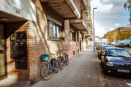 October 21, 2018. City Krefeld Germany. Urban one bike parked without anyone on a sunny day in the fall on a European street.