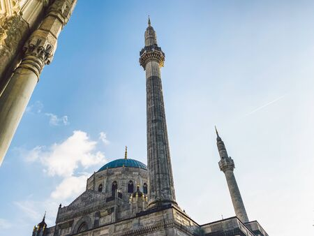 Pertevniyal Valide Sultan Mosque, Istanbul, Turkey October 26, 2019. Ottoman imperial mosque in Istanbul. Aksaray Valide Mosque located in Aksaray. Theme of Muslim religion, faith in God.