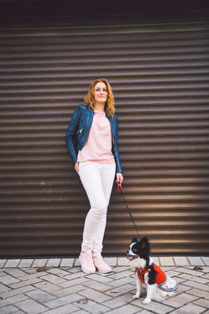 Woman and her dog on background of urban wall. young female and her dog posing at city. Veterinary Goods for pets. Man and chihuahua. love for animals, protection pets, dog friend of man.