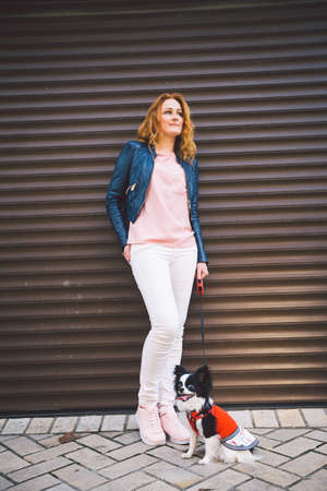 Beautiful red hair woman posing with a small dog in the city. The owner of a dog Chihuahua breed are standing against the background of the city wall. Clothes for a dog. Dress on a funny dog.