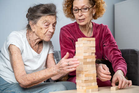 Retired mother and daughter spend time together at home, playing board game and caressing dachshund dog. Caucasian senior woman builds tower of wooden blocks with volunteer assistant in nursing home