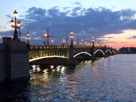 st petersburg: Illuminated bridge on white night in St Petersburg