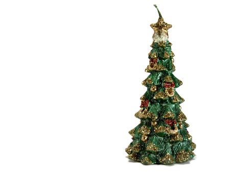 spangles: christmas tree shaped candle with spangles
