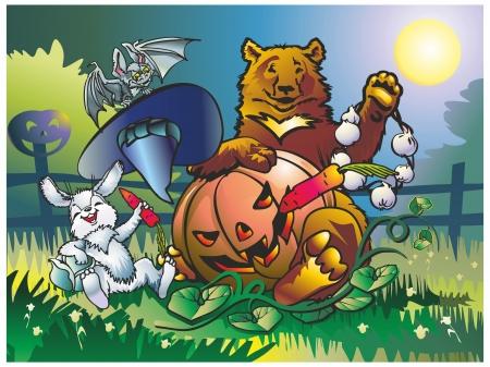 Bear bunny bat celebrate Halloween with pumpkin in the garden grass, garlic carrot cabbage hatgarden a fence hat moon Stock Vector - 17241632