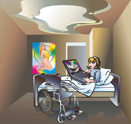 cripple disabled girl is sick  bunk bed in bed with a laptop with a face on the screen in the infirmary ward room poster gymnast with hoop Vector