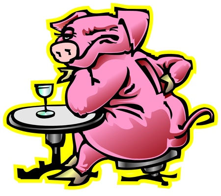 fatso: gift moneybox pig drunkard fatso winked at the bar vodka drinking