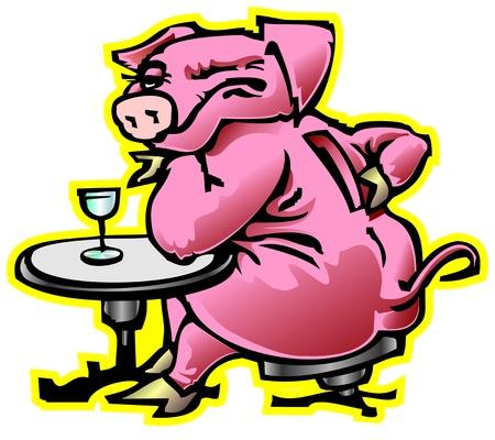 gift moneybox pig drunkard fatso winked at the bar vodka drinking