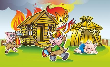 방갈로: 두 돼지의 쌍은 방갈로에있는 목조 주택에서 화재가 세 번째 오두막 인용 진화